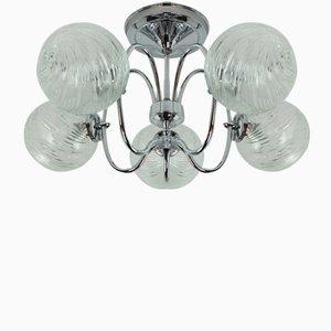 Lámpara de araña Sputnik Orbit de 5 globos de metal cromado y vidrio de Honsel Leuchten