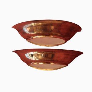 Französische Art Deco Wandlampen, 1940er, 2er Set