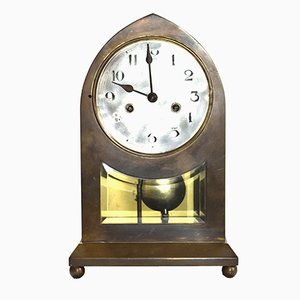 Large Vienna Secession Brass Table Clock
