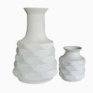 Jarrones alemanes Op Art Mid-Century de porcelana Bisque de Winterling Schwarzenbach. Juego de 2