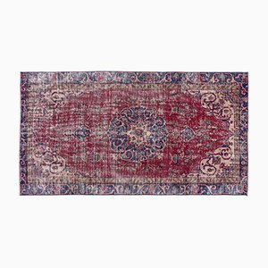 Türkischer Überfärbter Teppich in Rot, Beige & Blau, 1960er