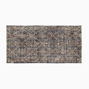 Blue, Beige, & Brown Overdyed Rug, 1960s