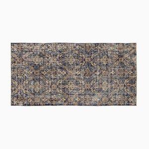 Überfärbter Teppich in Blau, Blau & Braun, 1960er