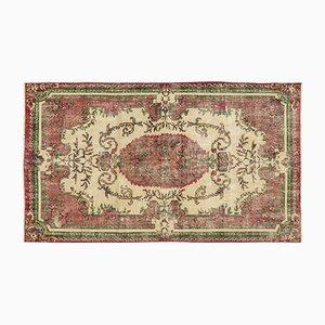 Überfärbter Vintage Teppich in Rot & Grün
