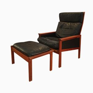Danish Leather Armchair with Ottoman by Illum Wikkelsø for N. Eilersen, 1960s