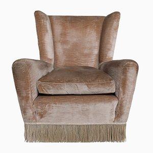 Velvet Wingback Armchair, 1960s