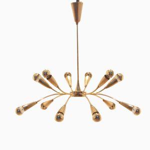 Mid-Century Italian Full Brass Sputnik Chandelier, 1950s
