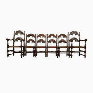 Viktorianische Eichenholz & Ulmenholz Yorkshire Esszimmerstühle, 6er Set