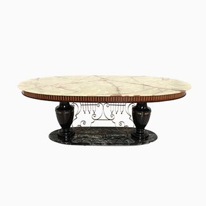 Mid-Century Italian Dining Table with Portoro Marble Base & Onyx Top, 1950s