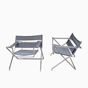 German D4 Tubular Steel Folding Chairs by Marcel Breuer for Tecta, Set of 2
