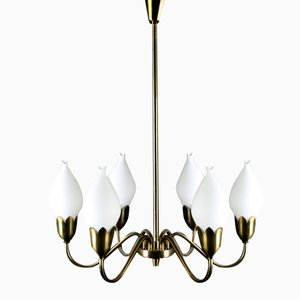 Danish Tulipan Brass Chandelier from Fog & Mørup, 1960s