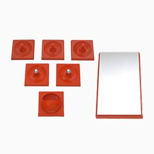 Vintage Orange Quadro Hooks, Lights, & Mirror Set from Schönbuch