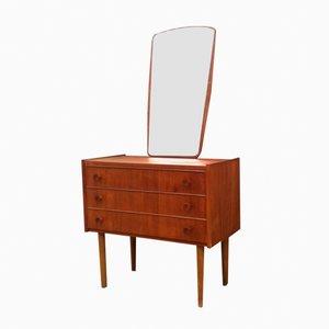 Cajonera danesa Mid-Century de teca y espejo, años 60