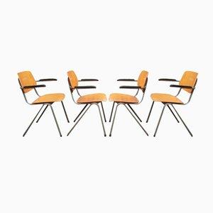 Chaises d'Ecole Mid-Century avec Accoudoirs en Bakélite, Set de 4