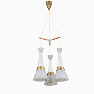 Lámpara colgante italiana de vidrio y latón de Stilnovo, años 50