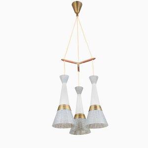 Lampe à Suspension en Laiton et en Verre de Stilnovo, Italie, 1950s