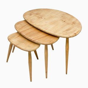 Model Pebble Nesting Tables Set by Luciano Ercolani for Ercol