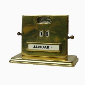 Calendario perpetuo Art Déco in ottone di Jakob Maul, anni '30