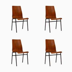 Sedie impilabili in compensato di teak, anni '60, set di 4