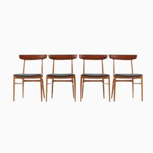 Buchenholz & Teak Esszimmerstühle, 1950er, 4er Set