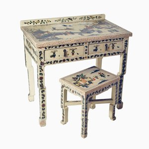 Italian Chinoiserie Desk & Stool, 1920s