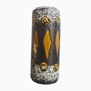 Deutsche Mid-Century Keramik Vase mit Gelben Mustern