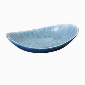 Blaue Steingut Schale von Carl-Harry Stålhane für Rörstrand, 1950er