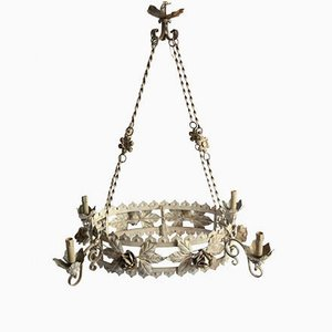 Antique Italian Chandelier with Lacquered Bulb Holders