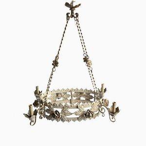 Lámpara de araña italiana antigua con marcos lacados