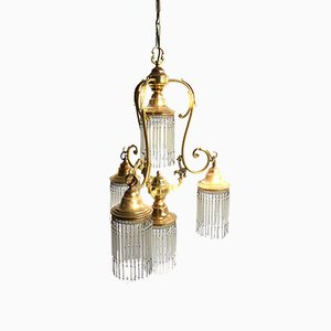 Vintage Italian Golden Glass Pendant Light