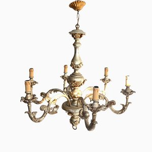 Antique Italian Silver-Lacquered Ceiling Light