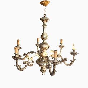 Lámpara de techo italiana antigua lacada en plateado
