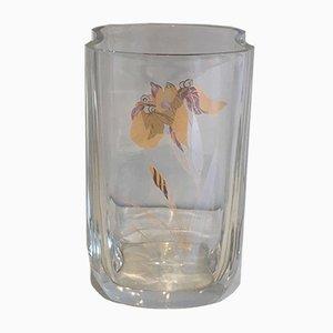 Jarrón de cristal con flores doradas, años 70