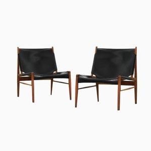Stühle mit Ledersitzen von Franz Xaver Lutz für WK Möbel, 1958, 2er Set