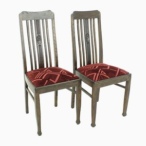 Vintage Oak Dining Chairs, 1920s, Set of 2