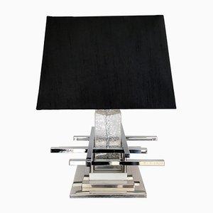 Lámpara de mesa italiana de cidrio y metal cromado, años 70