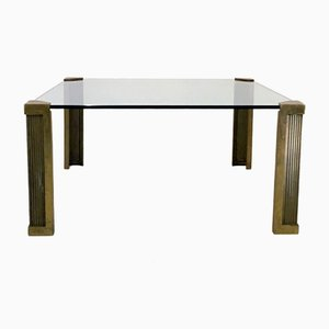 Dutch Brass and Glass Coffee Table by Peter Ghyczy, 1970s