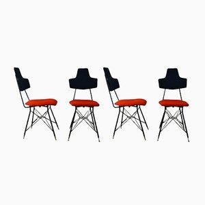 Chaises de Salon Noires et Rouges, Italie, Set de 4