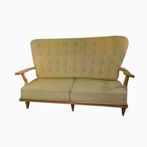 French Oak Grand Repos Sofa by Guillerme et Chambron for Votre Maison, 1970s