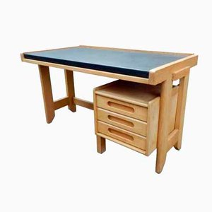 French Waxed Oak Desk by Guillerme et Chambron for Votre Maison, 1960s