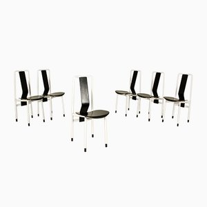 Vintage Italian Varnished Metal, Nylon, and Leather Chairs by Castiglioni for Zanotta, Set of 6