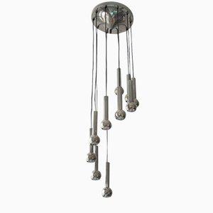 Lámpara colgante en cascada vintage de metal cromado, años 70