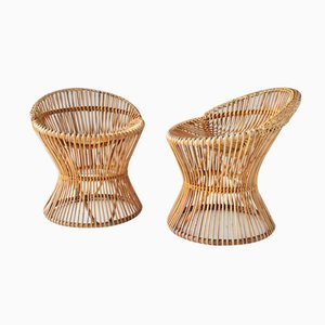 Italian Vintage Rattan Chairs, 1950s, Set of 2