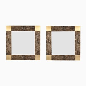 Italian Bronze Framed Mirrors by Luciano Frigerio, 1960s, Set of 2