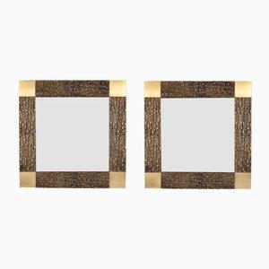 Italienische Spiegel mit Bronzerahmen von Luciano Frigerio, 1970er, 2er Set