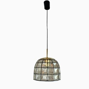 Vintage Glass Pendant Lamp from Glashütte Limburg