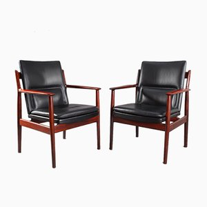 Vintage Rosewood Armchairs by Arne Vodder for Sibast Møbler, 1960s, Set of 2