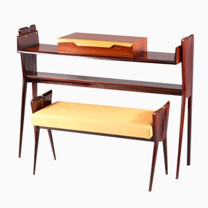 Italian Rosewood Console Table with Integrated Bench, 1950s