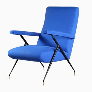 Vintage Italian Electric Blue Lounge Chair, 1960s