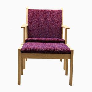 GE284 Vintage Sessel und 284S Ottomane von Hans J. Wegner für Getama